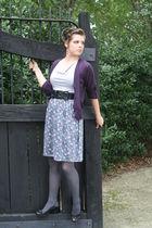 Francesas dress - purple Francesas cardigan - gray American Apparel tights - bla