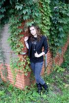 black Urban Outfitters blazer - black t-shirt - gray Forever 21 jeans - black bo