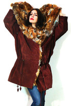 maroon vintage coat - blue blue 7 FAM jeans - bronze creepers no brand sneakers