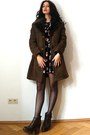 Black-anna-sui-dress-brown-vintage-coat-dark-brown-kurt-geiger-clogs