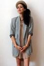 Beige-felt-cylindric-vintage-hat-periwinkle-vintage-blazer-tan-asos-shirt