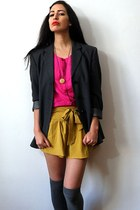 hot pink silk vintage shirt - dark gray boyfriend wool vintage blazer