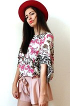 bubble gum Hermes top - red felt bowler vintage hat - light pink D&G shorts