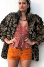 Brown-vintage-from-ebay-jacket-orange-vintage-shorts-coral-sequined-deep-v-v