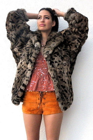 brown vintage from Ebay jacket - orange vintage shorts - coral sequined deep v v