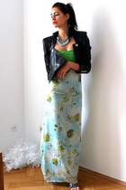 chartreuse Silk dress - light blue Silk chiffon watercolor print dress