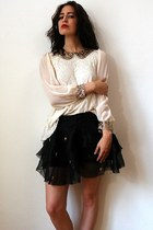cream no brand blouse - black self-made shorts