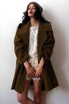 olive green vintage coat - camel angora beanie vintage hat