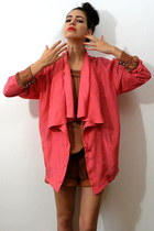 hot pink vintage blazer - brown vintage shorts - coral nolita blouse