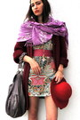 Eggshell-hand-made-dress-ruby-red-vintage-coat-amethyst-vintage-scarf-puce