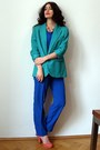 Blue-overall-vintage-suit-turquoise-blue-business-wool-vintage-blazer