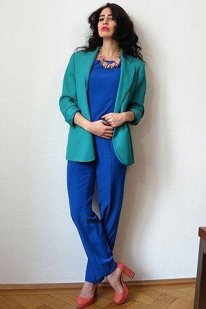 turquoise blue business wool vintage blazer - blue overall vintage suit