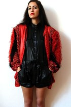 red vintage jacket - black BCBG romper