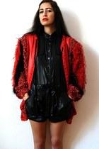 red vintage jacket - black BCBG romper