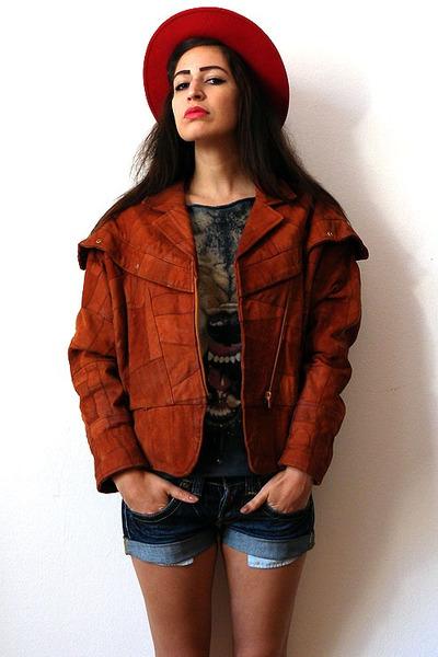 brick red vintage jacket - red felt bowler vintage hat