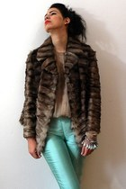 turquoise blue silk dupioni vintage pants - dark brown mink fur vintage jacket