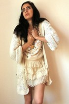 yellow moccassin vintage shoes - cream gold sequined vintage shirt - eggshell Ni