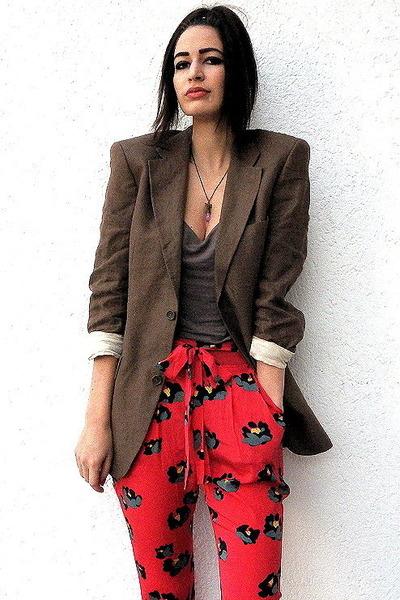 light brown linen boyfriend Vintage Zara blazer - red DKNY pants - gray tank  to