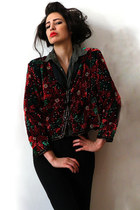 red vintage jacket - forest green silk menswear vintage shirt