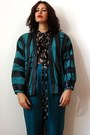 Turquoise-blue-vintage-jacket-black-d-g-blouse-teal-vintage-pants