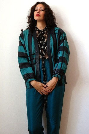 turquoise blue vintage jacket - black D&amp;G blouse - teal vintage pants