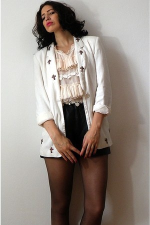 white vintage blazer - black vintage shorts - neutral no brand top