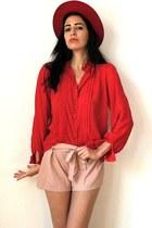 red felt vintage hat - salmon bow paperbag D&G shorts - red mesh vintage blouse