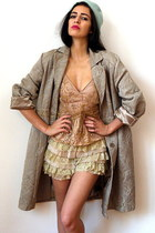 light brown vintage coat - beige lace scalloped vintage shorts
