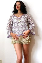 ivory knitted slip vintage top - amethyst kimono lace vintage shirt
