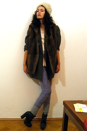 ivory curly lamb fur vintage hat - dark gray chunky heeled asos boots