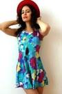 Sky-blue-bustier-vintage-from-ebay-dress-red-felt-vintage-hat