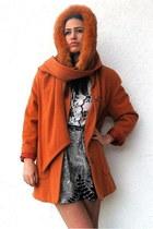 carrot orange vintage coat - white embroidered bw vintage top - black fern bw co