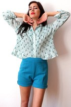 light blue vintage blouse - turquoise blue vintage shorts