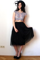 light purple next top - navy felt feather vintage hat - black vintage skirt