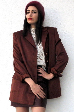 ruby red angora knitted vintage hat - crimson Vintage Escada blazer - cream lace