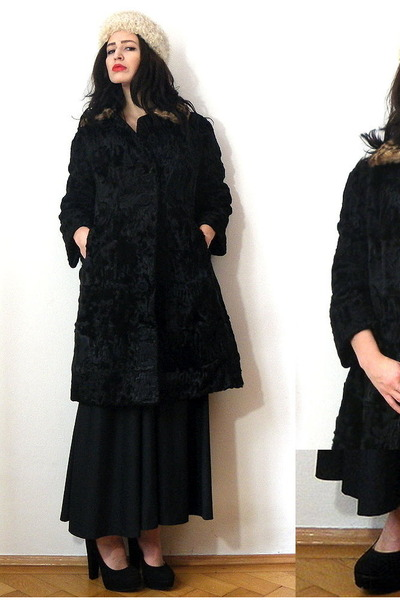 black vintage dress - black persian lamb vintage coat