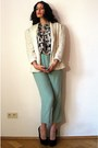 White-sequin-vintage-blazer-aquamarine-vintage-pants-navy-vintage-top