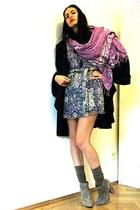 tan suede leather asos boots - amethyst vintage dress - deep purple Hand Made ja