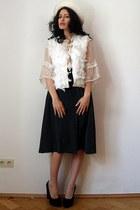 ivory Self Made vest - white felt feather vintage hat - dark gray vintage skirt