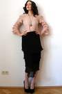 Light-pink-organza-vintage-top-black-diane-von-furstenberg-vintage-skirt
