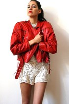 red vintage jacket - white lace vintage shorts - white lace vintage top