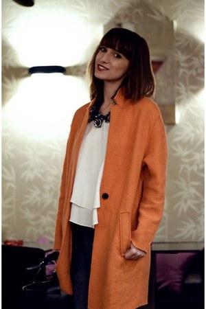 carrot orange wool Zara coat - navy leather Zara bag