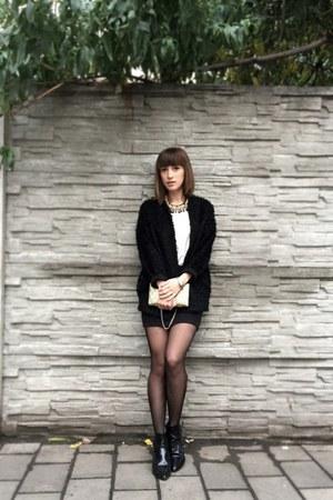 black Zara boots - white Zara shirt