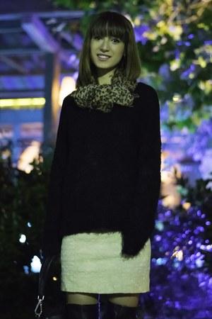 black leather Zara boots - ivory Zara dress - dark gray Prada bag