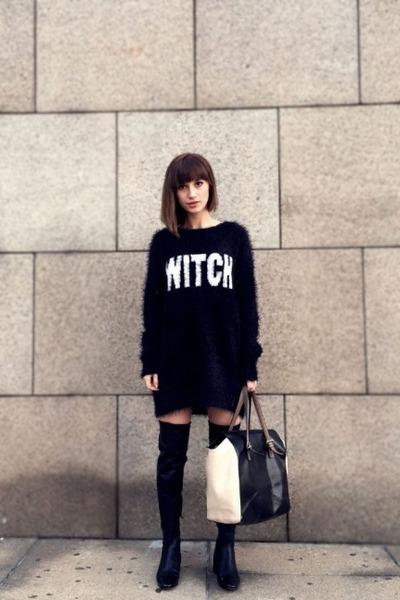 Black Dress Sweater Hm Sweaters Black Zara Boots Eggshell Leather