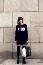 black dress sweater H&M sweater - black Zara boots - eggshell leather Zara bag
