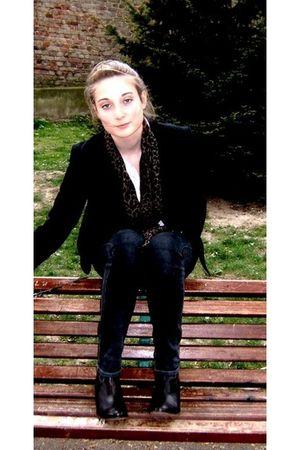 gray Cheap Monday pants - black Gallery Lafayette blazer - brown boots - Eurodif