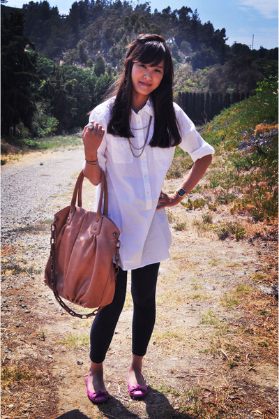 pink Jeffrey Campbell shoes - pink JCrew purse - white JCrew blouse - blue Uniql