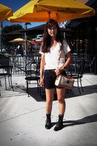black Gap shorts - black rodeo drive boots - beige Dooney&Bourke purse - gray H&