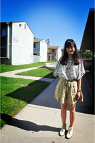 yellow JCrew skirt - beige shoes - white H&M blouse - gold Nordstrom necklace -